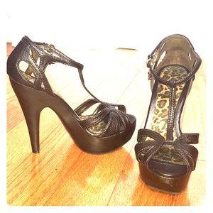 Dark Brown faux leather platform open toe heels